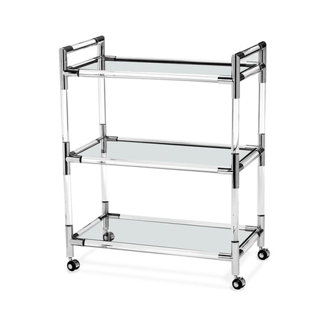 Nickel and Glass Bar Cart