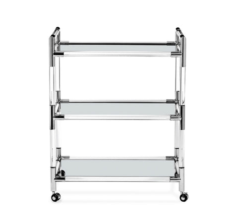 Nickel and Glass Bar Cart - Hamptons Furniture, Gifts, Modern & Traditional