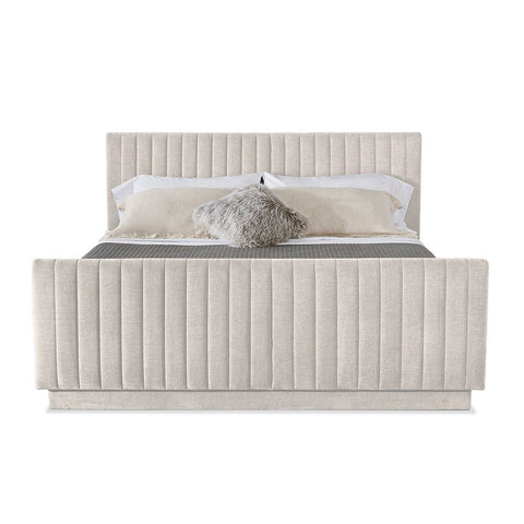 Channeled Upholstered Bed - Quick ship