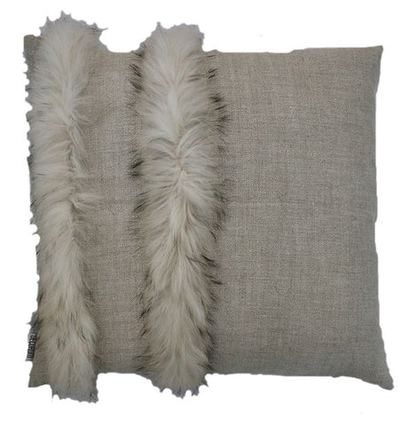 Large Fur and Linen Pillows