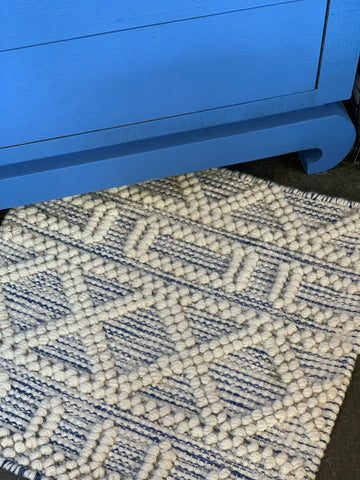 Nubby Wool Area Rugs in Blues