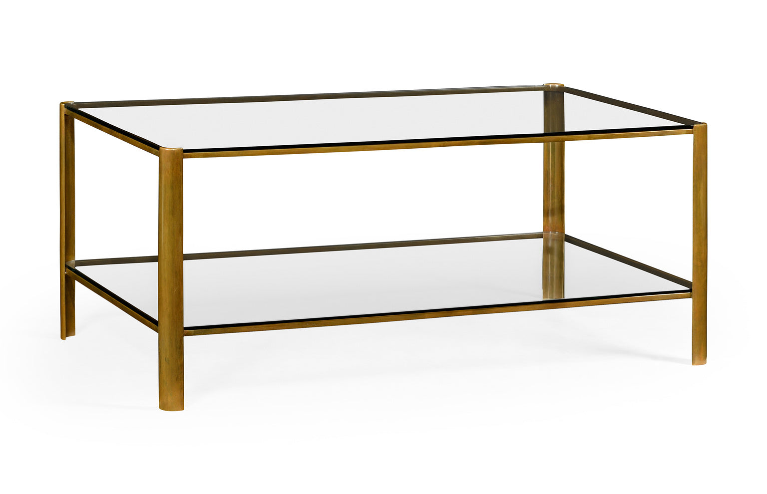 Picture of: Burnished Brass Coffee Table With 2 Glass Shelves Tempered Glass English Country Home