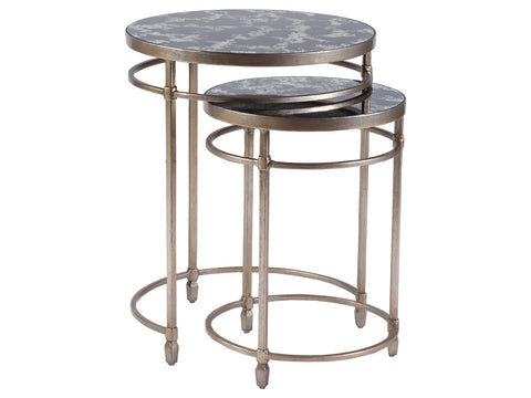 Set of Nesting Tables with antiqued glass