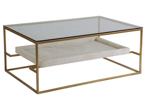 Gold and Stone & Glass Coffee Table