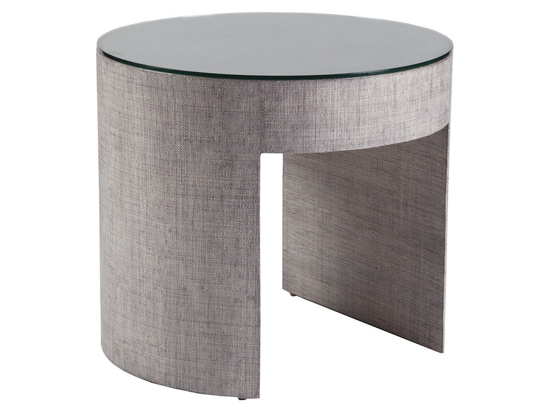 Raffia covered side table with glass top