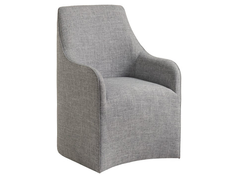 Upholstered Dining Chair with Wicker Back on Casters