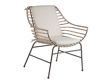 Curved Back Rattan Armchair