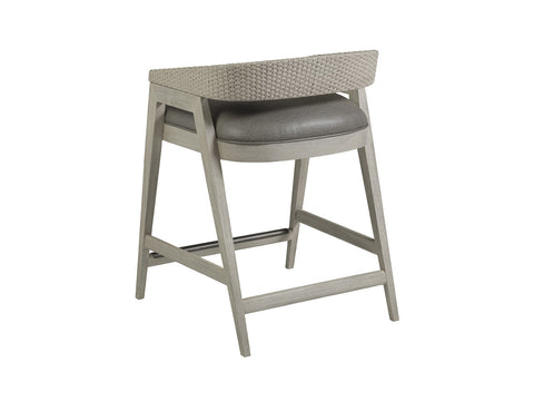 Counter Stool with Faux Leather Seat & Low Wicker Back