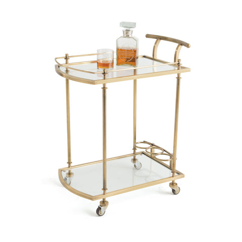 Brushed brass bar cart on wheels, with 2 clear glass shelves