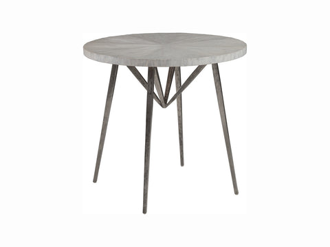 Round End Table with Metal Base