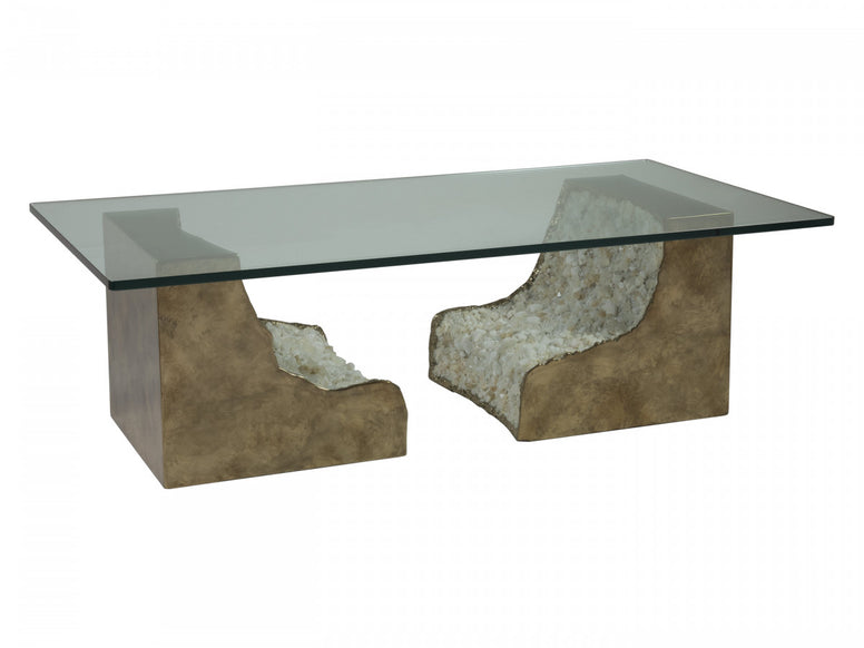 Geode Rectangle Cocktail Table with Glass Top