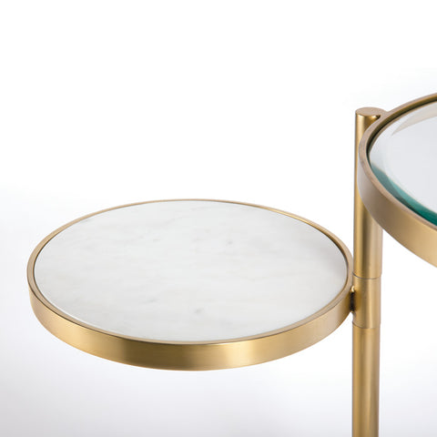 Brass side table with movable extra table in white marble