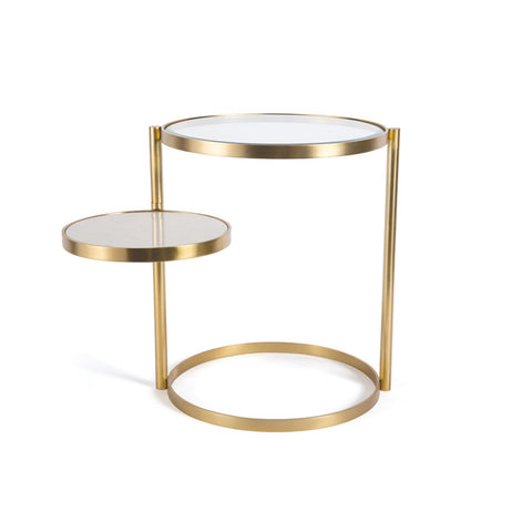 Brass side table with movable extra table