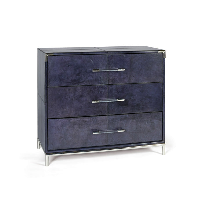 Blue Leather Dresser with Acrylic Handles - Hamptons Furniture, Gifts, Modern & Traditional