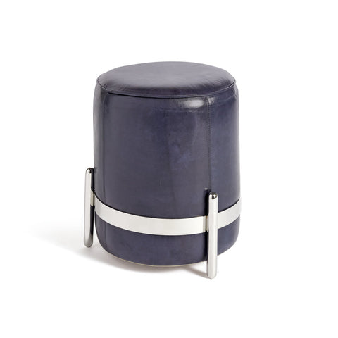 Navy Blue Leather Stool with Polished Nickel