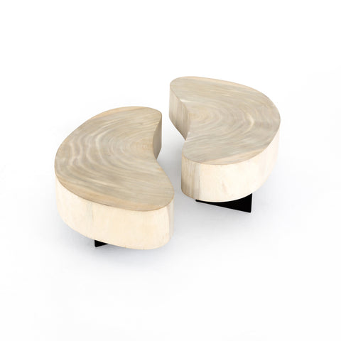 Bleached Kidney Shaped Coffee Tables in Two Heights
