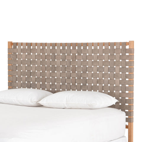 Grey Woven Queen Headboard with Morada Wood Frame