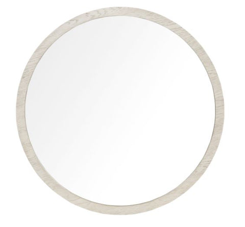 Round White Finished Oak Mirror