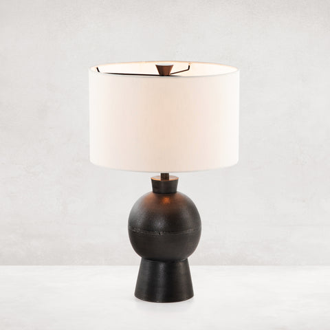 Textured Black Aluminum Table Lamp