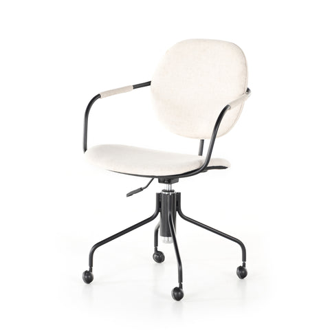 Cream Colored Upholstered Swivel Desk Chair with Black Iron Base