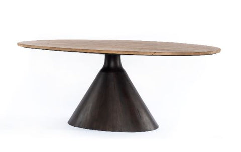 Reclaimed Wood Oval Table with Dark Brown Finished Base