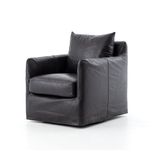 Black Leather Swivel Chair