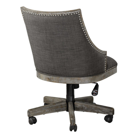 Transitional & adjustable desk chair on casters
