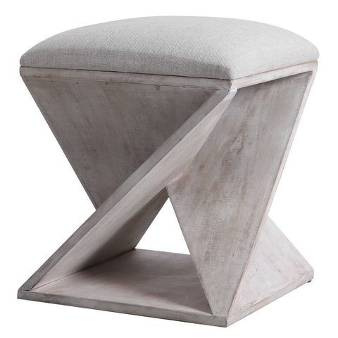 Asymmetrical White Washed Accent Stool
