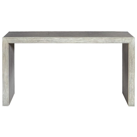 Light Gray Console Table with Stitched Panels