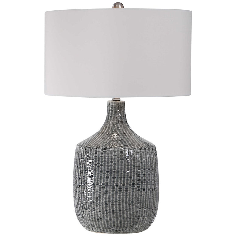 Distressed Blue-Gray Table Lamp with Linen Shade