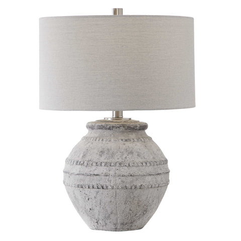 Distressed Stone Table Lamp with Linen Shade