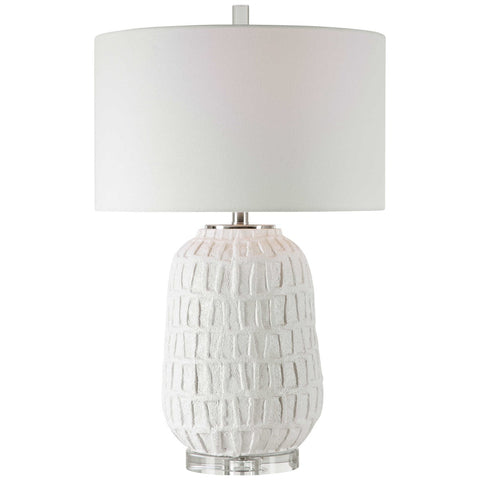 Textured Ceramic Table Lamp with Crystal Base and White Linen Shade