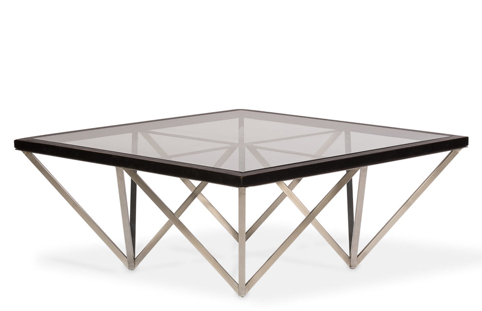 Geometric Metal Base Coffee Table