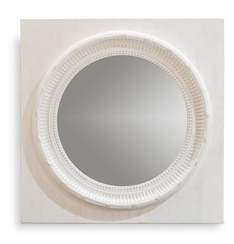 White Painted Round Mirror
