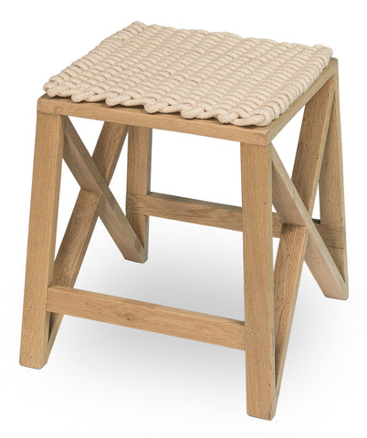 Oak Stool with rope matt