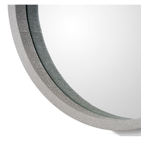 Faux Linen in Grey Round Mirror