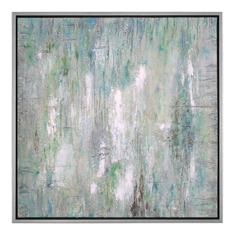 Hand Painted Abstract Canvas with Silver Frame
