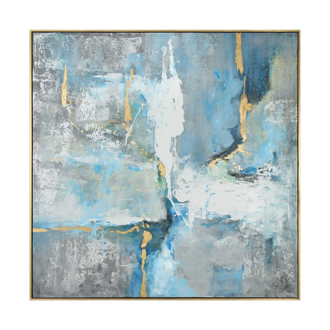 Hand Painted Abstract Canvas with Thin Gold Frame