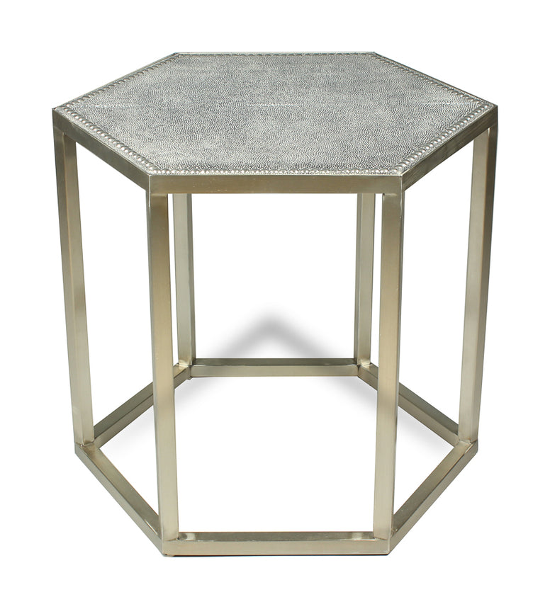 Side Table with Leather Top and Nail Head Detail