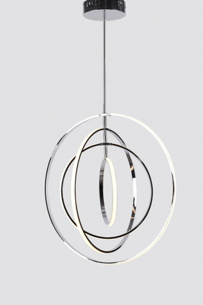 FOUR CHROME RING ORB LED LIGHT FIXTURE