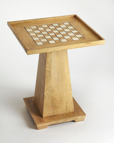 Chess Game Table in Natural Wood