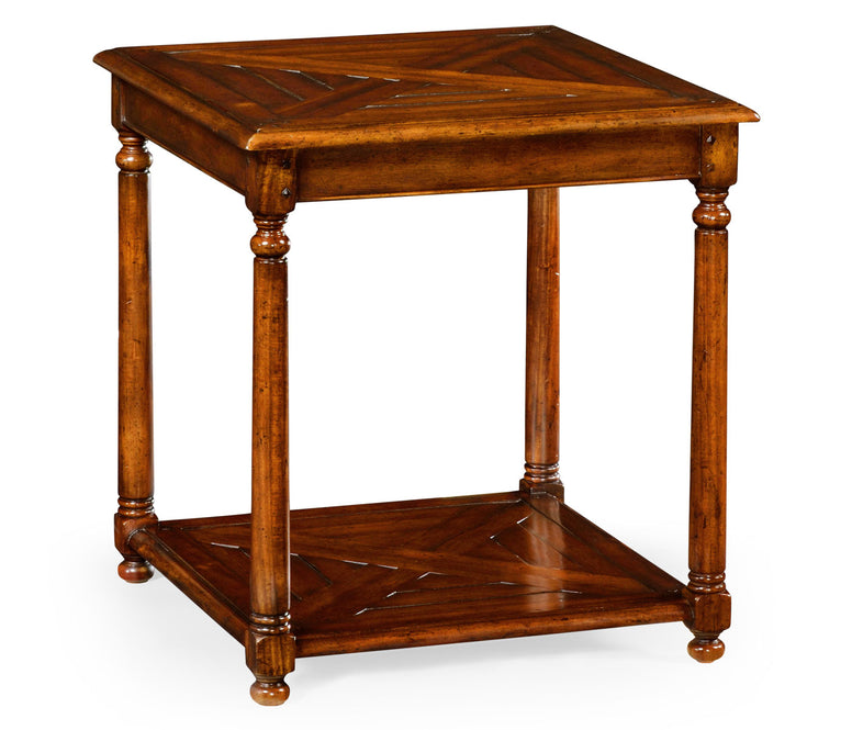 Parquet Walnut Square Side Table