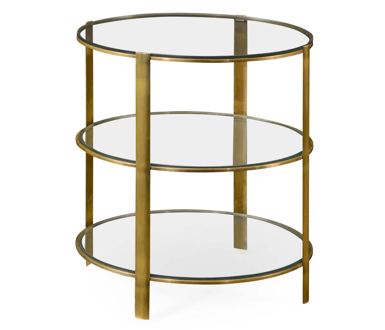 Brass and Glass Circular Side Table