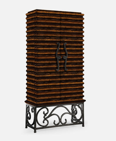 Ribbed Wooden Wine Cabinet