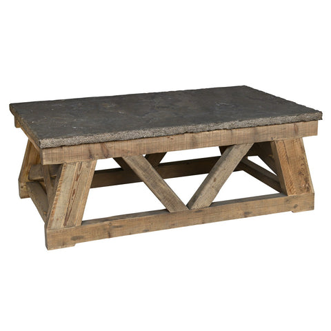 Reclaimed pine and blue stone top plank style coffee table.