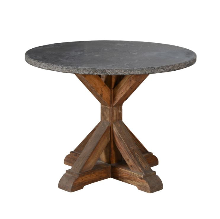 Reclaimed Pine Dining Table with Stone Top