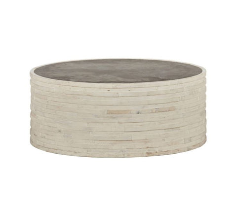 Round Coffee Table with Stone Top