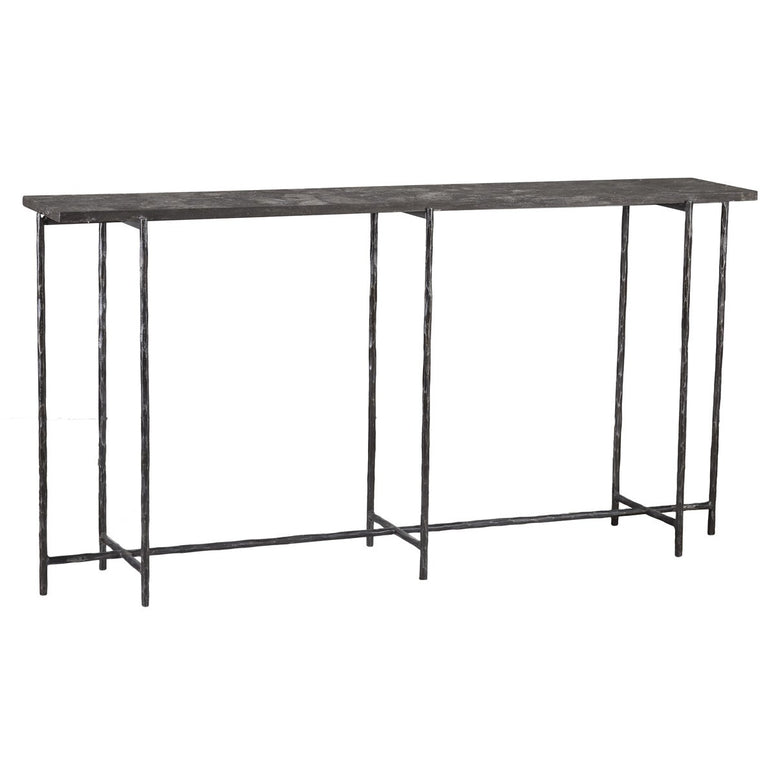 Narrow Iron Console Table with Stone Top - Hamptons Furniture, Gifts, Modern & Traditional