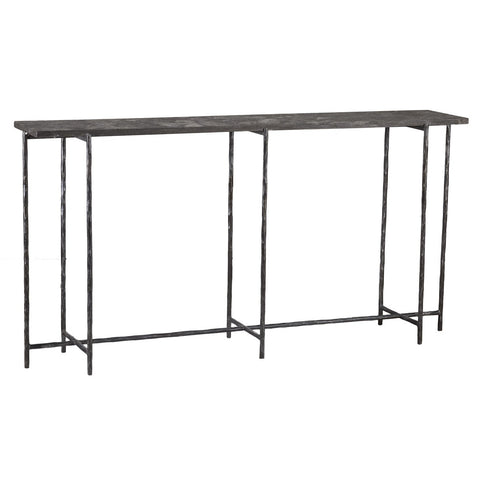 Narrow Iron Console Table with Stone Top