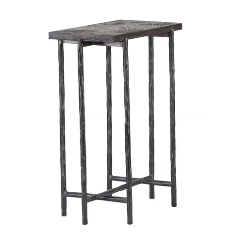 "16"" Side Table, blue stone top, iron base"